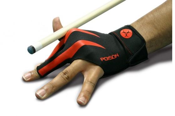 "Handschuh ""Poison"", 3-Finger, schwarz-rot, S&M"