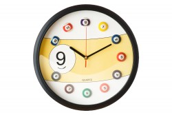 Billard Uhr Nr. 9, gelb, Ø30cm