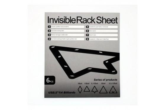 "Aufbauhilfe ""Invisible Rack Sheet""  9&10 Ball  - 6 Stück, PVC,  Aufbauschablone"