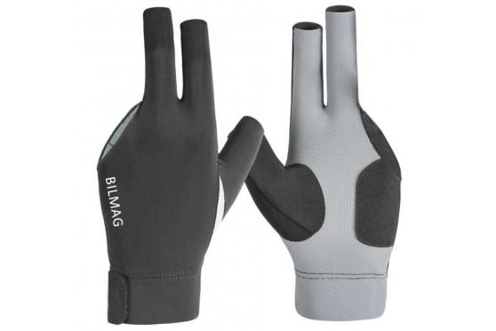 Billard Handschuh BILMAG, 3-Finger, grau-schwarz