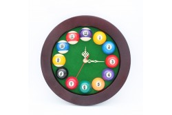 12-Ball-Billiard-Clock ROUND, Ø25cm