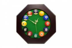 12-Ball-Billiard-Clock OCTAGON, 40x40cm