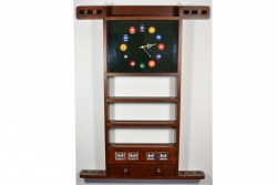 Wall Rack for 6 Cues, with Clock and Score Counter , brown