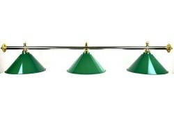 Billard Lampe, silber-messing, grün, 3 Schirme
